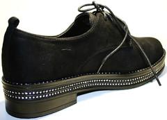 Черные туфли дерби женские. Замшевые туфли осенние женские Seastar Blue - Black Suede.