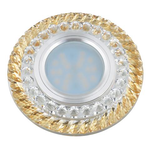DLS-L132 GU5.3 CHROME/GOLD Светильник декоративный встраиваемый, серия Luciole. Без лампы, цоколь GU5.3. Доп. светодиодная подсветка 3Вт.Металл/стекло. Хром/золото. ТМ Fametto