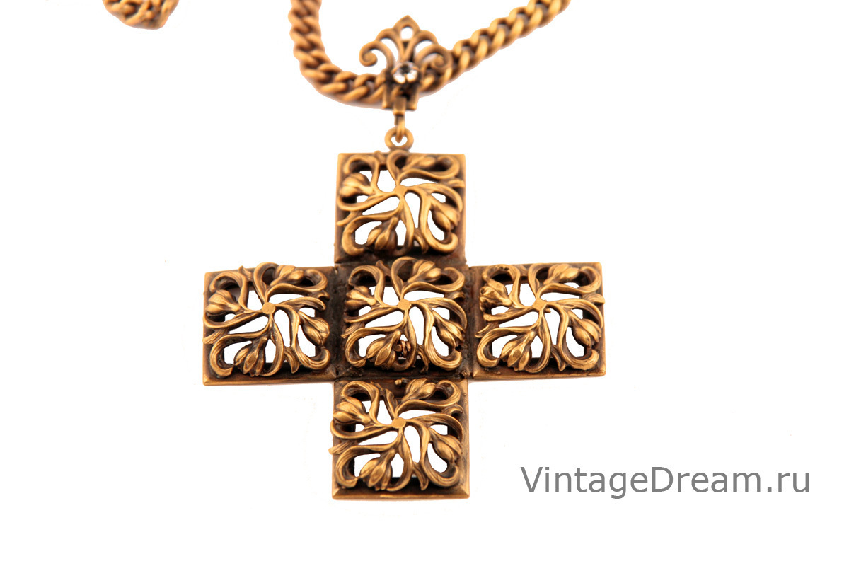 Unusual necklace with cross-shaped pendant by Joseff of Hollywood