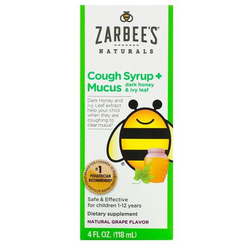 Zarbee's, детский сироп от кашля с отхаркивающим действием, с темным медом и листом плюща, с натуральным вкусом винограда, для детей возрастом 12 месяцев и старше