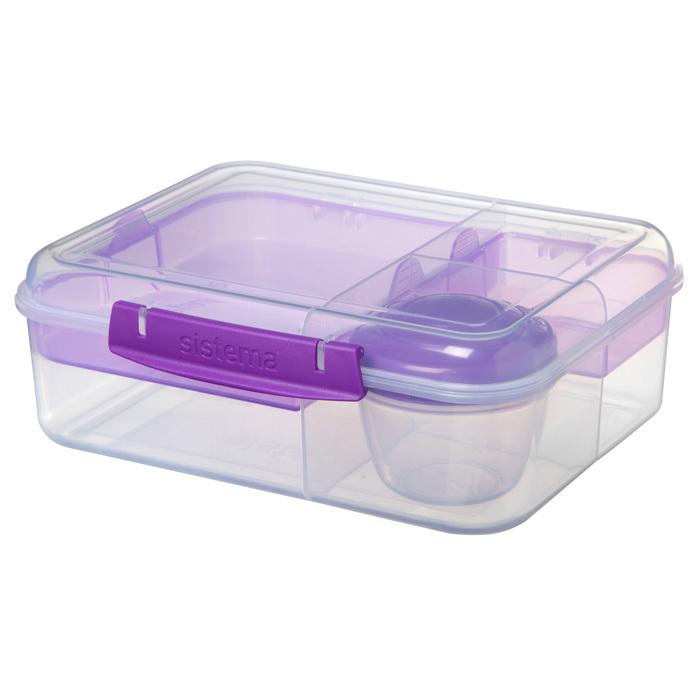 """Ланч-бокс с баночкой Sistema """"Bento TO GO"""", многосекционный, 1,65 л, цвет Фиолетовый"""