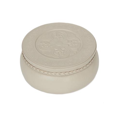 Шкатулка круглая «Ренессанс». Цвет молочный
