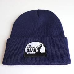 Вязаная шапка с отворотом и вышивкой The Walking Dead (Ходячие мертвецы), синяя
