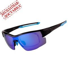 Очки солнцезащитные XQ514, (чёрно-синие / синие revo) +2 доп. линзы