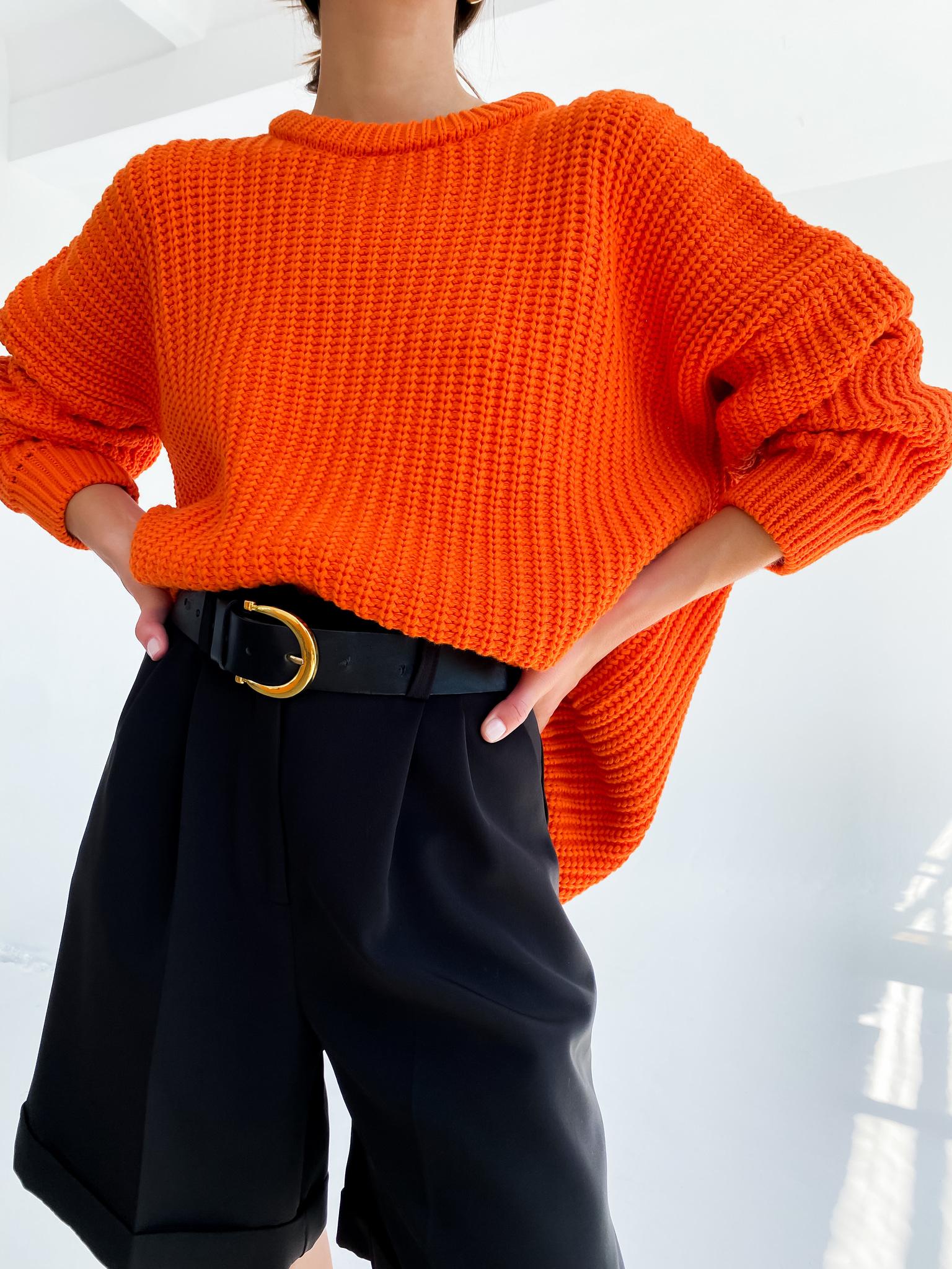 Свитер крупной вязки из хлопка (оранжевый)