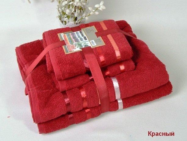 Комплект махровых полотенец КАРНА, красный