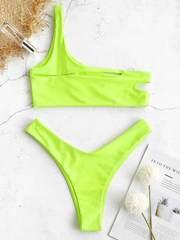 купальник на одно плечо неоновый зеленый