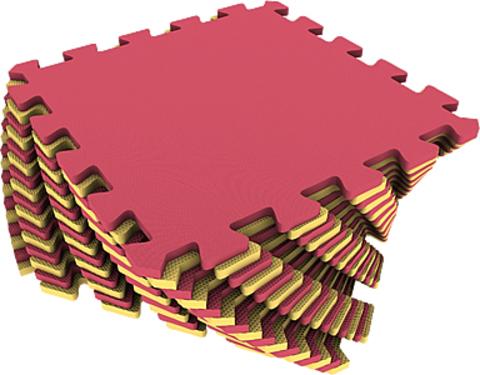 Набор мягких плиток 25*25. Красно-жёлтый. Коврики-пазлы.