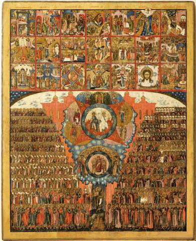 Икона Все святые с Праздниками на дереве на левкасе мастерская Иконный Дом