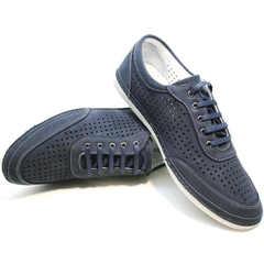 Туфли кроссовки натуральная кожа мужские Vitto Men Shoes 3560 Navy Blue.