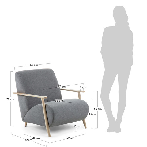 Кресло Marthan серое подлокотники светлые