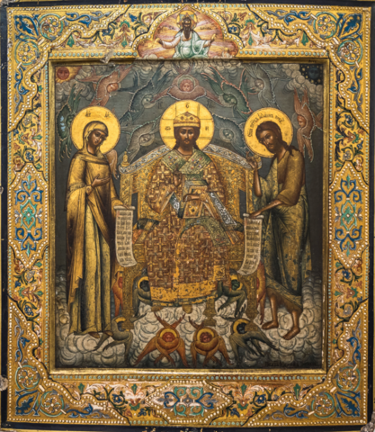 Икона Спас Великий Архиерей на престоле с предстоящими Богоматерью и Иоанном Предтечей на левкасе на дереве мастерская Иконный Дом