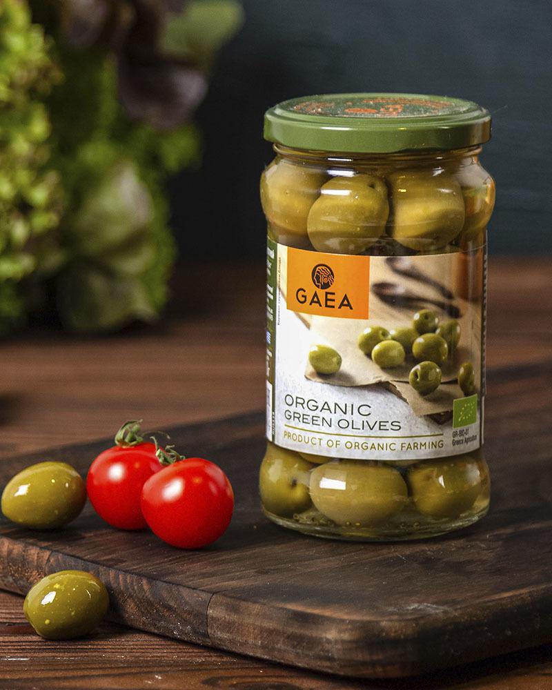 Оливки GAEA органик зеленые с косточкой 300 гр.