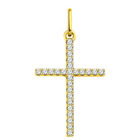 л3291- Крест из лимонного золота с фианитами