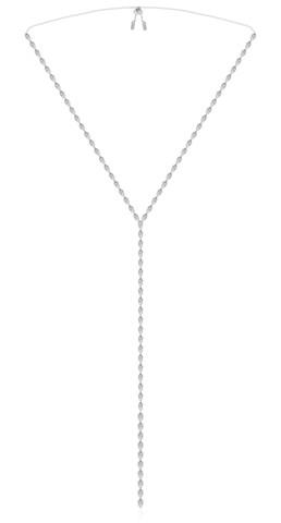Колье галстук  из серебра с цирконами в стиле APM MONACO