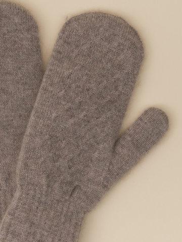 Женские варежки бежевого цвета из 100% кашемира - фото 4