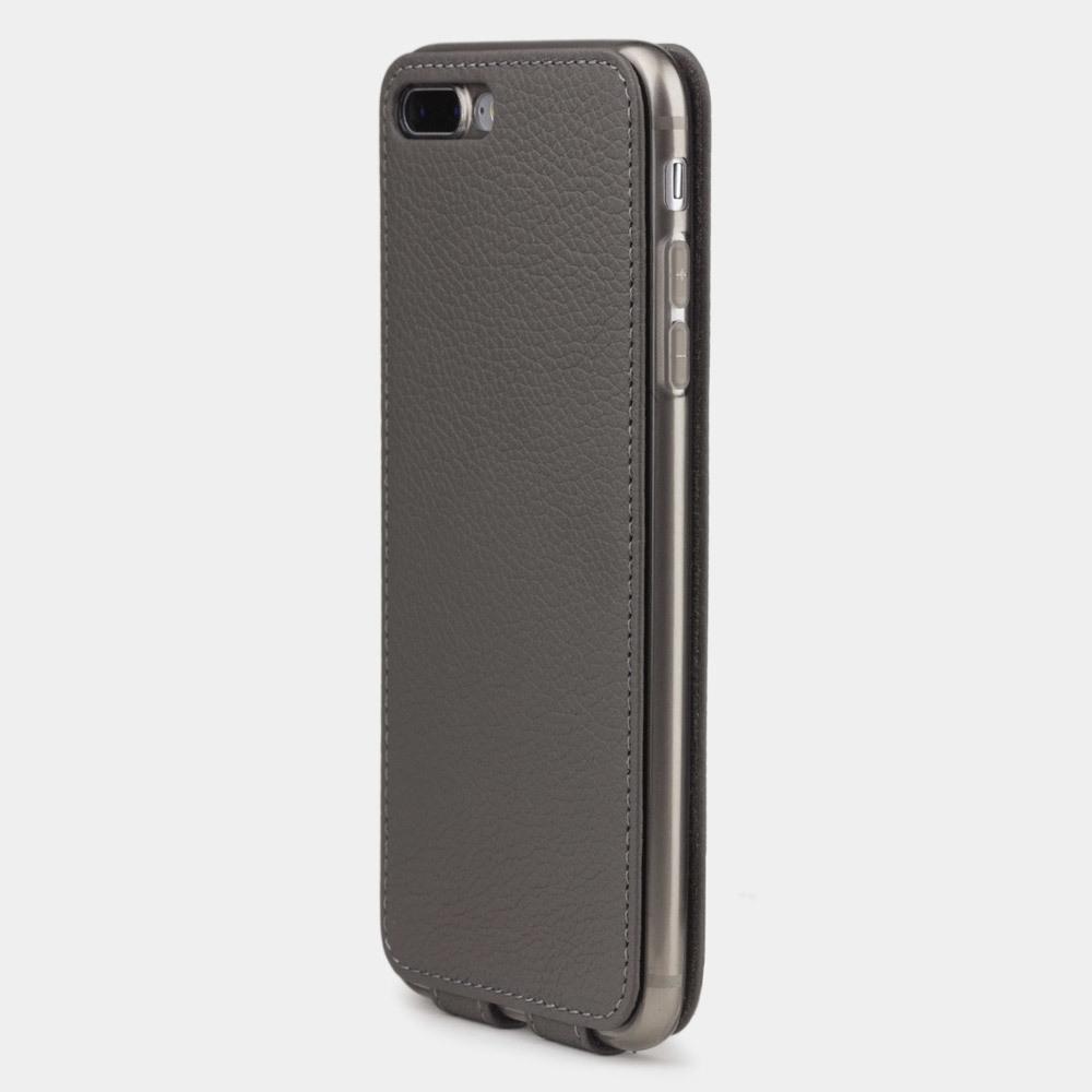 Чехол для iPhone 8 Plus из натуральной кожи теленка, серого цвета