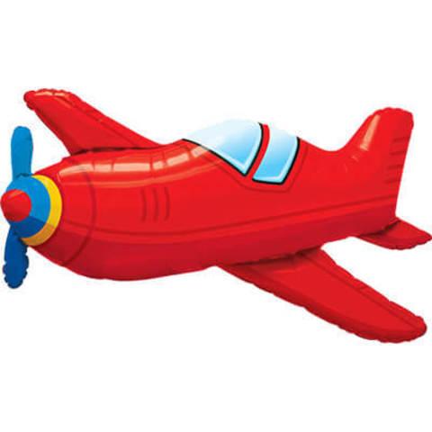 Фигура фольга Самолёт красный