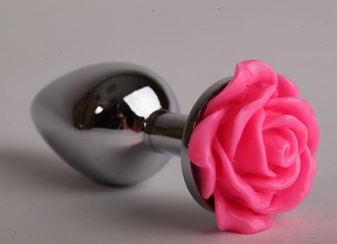 Анальная пробка металл 8х3,5см с розой розовая 47181-1-MM