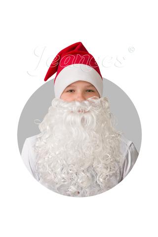Колпак новогодний красный с бородой плюш