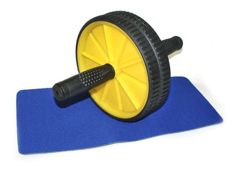 Ролик гимнастический двойной в комплекте с ковриком. Диаметр колеса 18 см.  Материал: пластмасса, металл, ввв