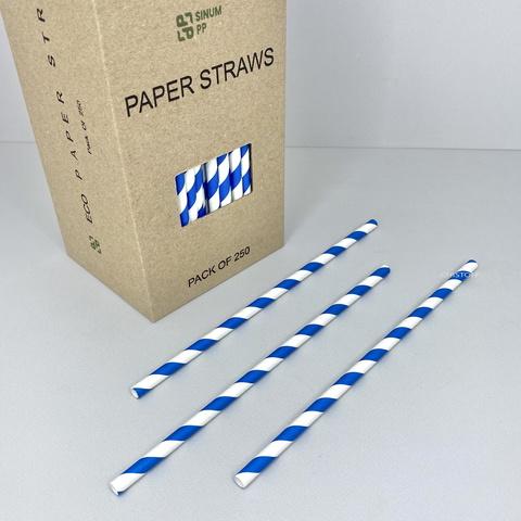 Трубочки бумажные (250 шт.) белые с синими полосками