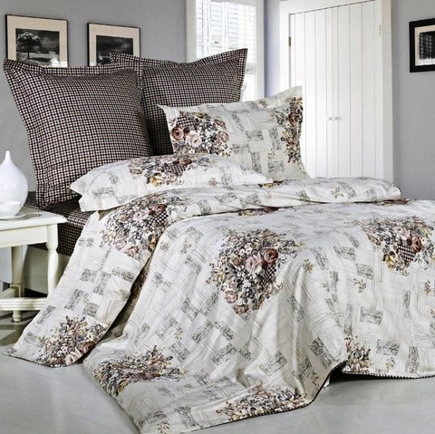 Сатиновое постельное бельё  2 спальное  В-124