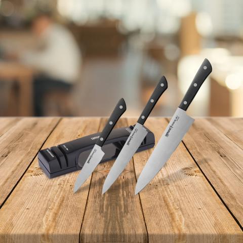 Набор из 3-х ножей Samura Harakiri и точилки KSS-2000