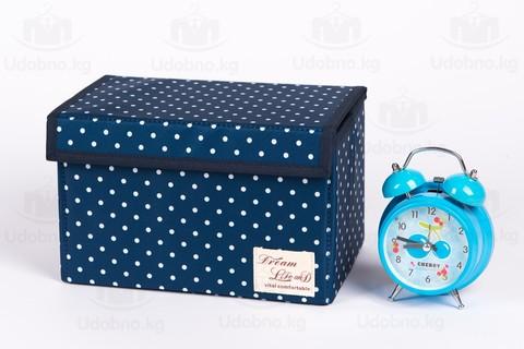 Подарочный комплект из 3 коробов для хранения (темно-синий в горошек)