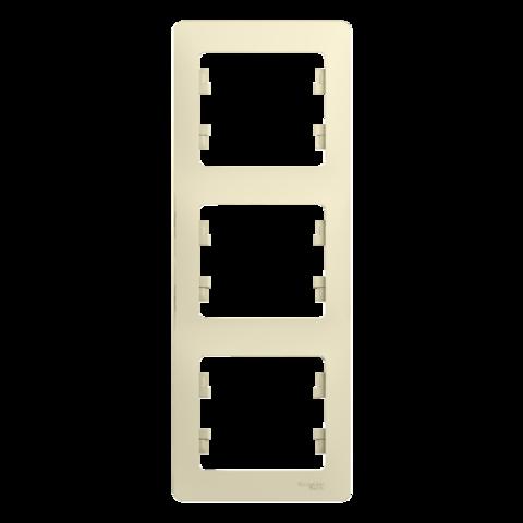 Рамка на 3 поста, вертикальная. Цвет Бежевый. Schneider Electric Glossa. GSL000207