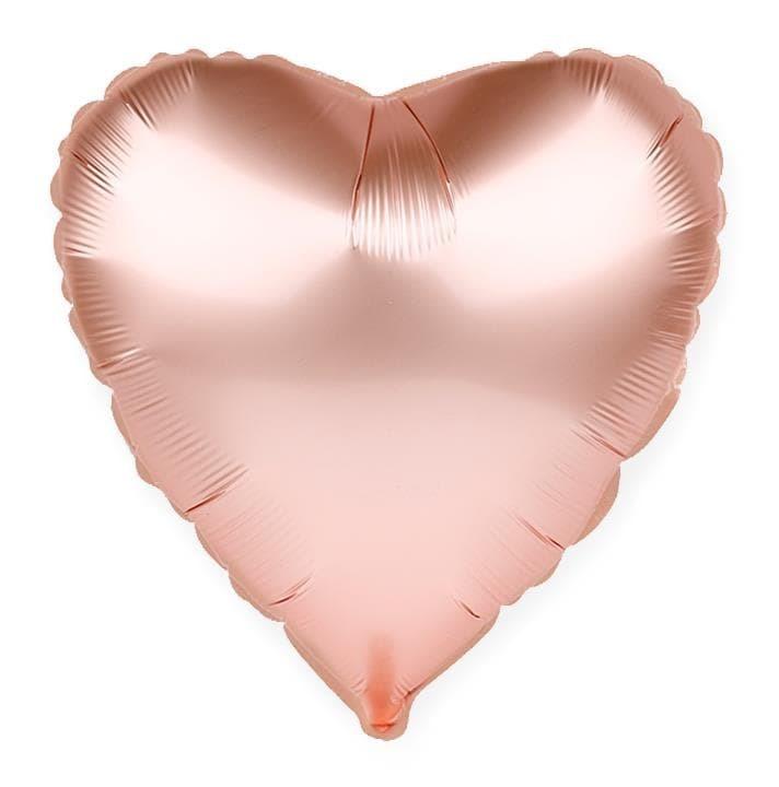 Фольгированный воздушный шар сердце, розовое золото, 46 см