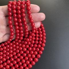 Бусины коралл красный шар 8,3-8,5 мм