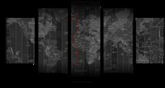 """Модульная картина """"Черная карта мира"""""""