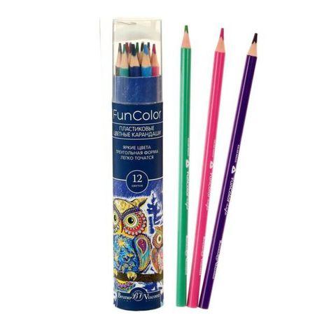 Карандаши цветные BRUNO VISCONTI Funcolor 12 цв + Точилка в тубе 30-0085