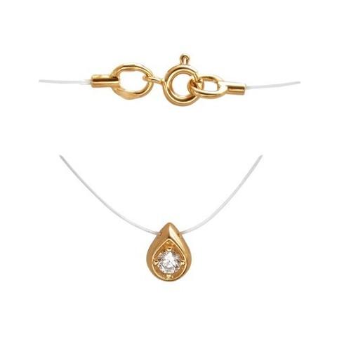 01Л111610 -Капелька из золота 585 с фианитом  на леске-невидимке с золотыми замочками
