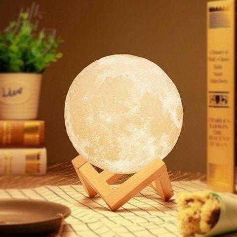 Светильник ночник 3D шар Луна Moon Lamp на подставке (15 см) без пульта ДУ