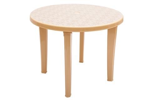 Пластиковый стол круглый с рисунком бежевый
