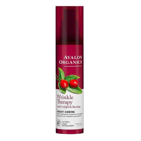 Avalon Organics CoQ10 & Rosehip: Ночной увлажняющий крем против морщин с коэнзимом Q10 и шиповником (Wrinkle Therapy With CoQ10 & Rosehip Night Creme), 50г