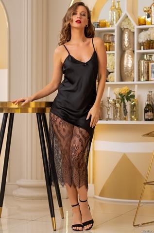 Длинная черная ночная сорочка Mia Amore Корнелия
