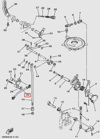 Тяга дроссельной заслонки для лодочного мотора Т30 Sea-PRO (13-20)