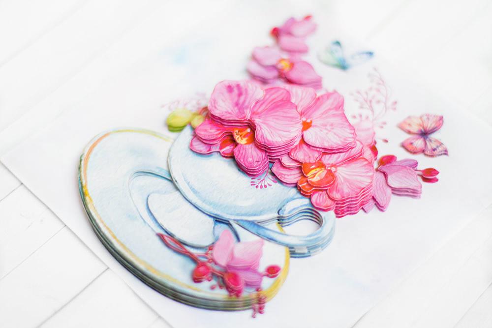 Розовые орхидеи - готовая работа, вид снизу.