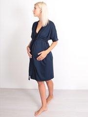 Euromama/Евромама. Комплект халат и сорочка вискозный шелк, темно-синий вид 3