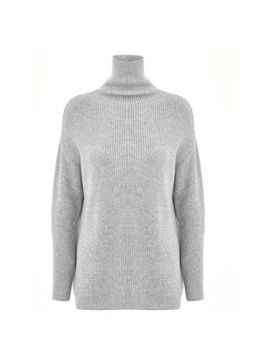 Женский свитер светло-серого цвета из шерсти и кашемира - фото 1