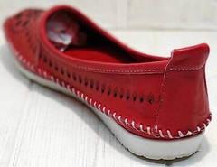 Красивые балетки слипоны женские кожаные Rozen 212 Red.