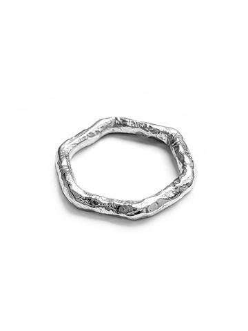 Серебряное кольцо шестигранник