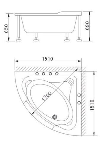 Гидромассажная ванна Apollo А-2121  сенсорный пульт управления, c аэро- и гидромассажем, 152х152х65см. схема