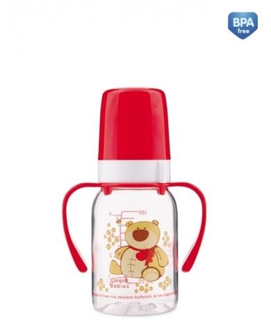 Бутылочка тритановая (BPA 0%) (11/823) с ручками с сил. соской, 120 мл. 3+ Cheerful animals (мишка)