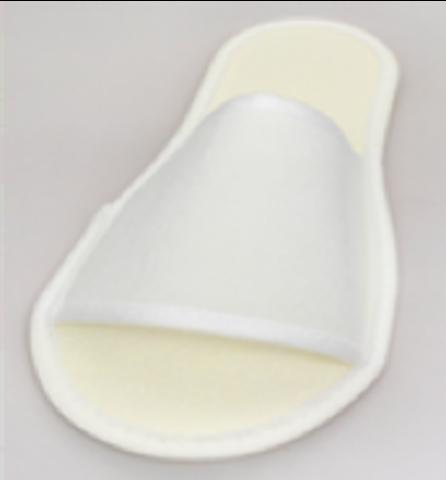 Тапочки стандарт на жесткой подошве с открытым мысом, белые. 50 пар в упаковке.