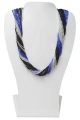 Бисерное ожерелье из 36 нитей черно-синее