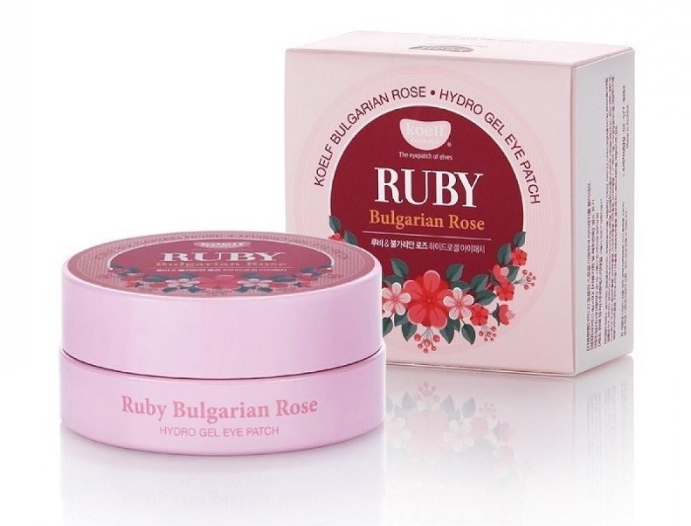 идрогелевые патчи для век с рубиновым порошком и экстрактом болгарской розы KOELF